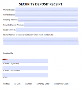 rent paid receipt security deposit receipt template