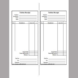 rent receipt pdf tuition fee receipt template