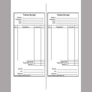 rent receipt pdf tuition fee receipt template