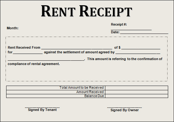 rent receipt sample
