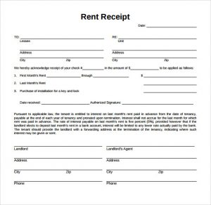 rent receipt sample rent receipt form pdf