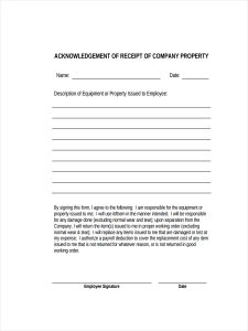 rent receipts forms acknowledgement receipt of property