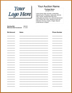 rent receipts forms silent auction bid sheet silent auction bid sheet template