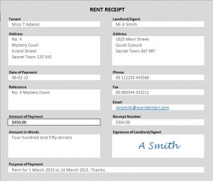 rent receipts template word rent receipt example