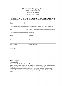 rent to own agreement template parking lot agreement template
