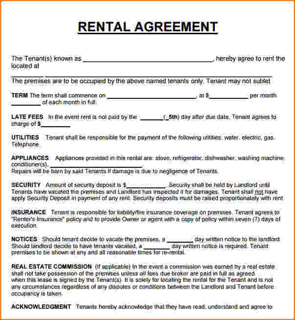 Rent To Own Lease Agreement  Template Business