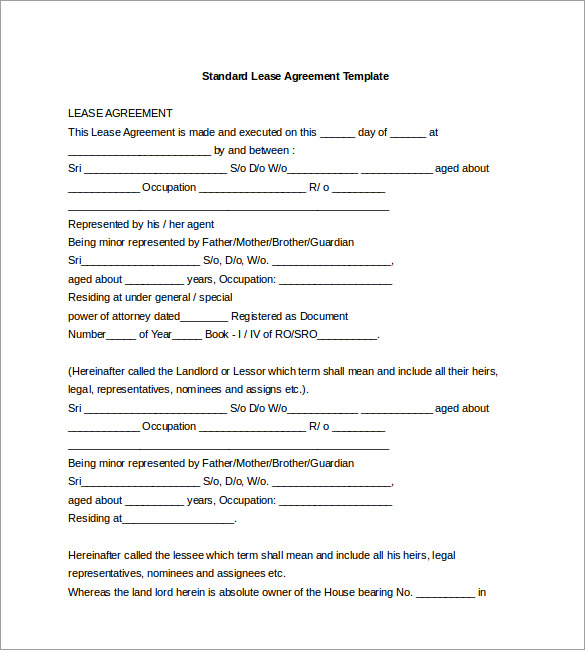 Rental Agreement Doc  Template Business