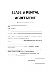 rental agreement format agreement template