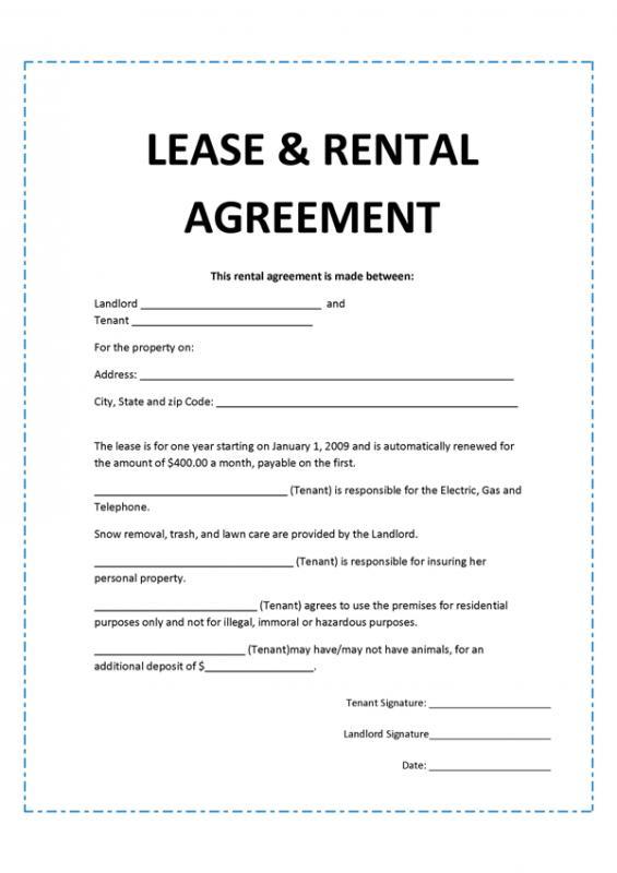 Rental Agreement Format Template Business