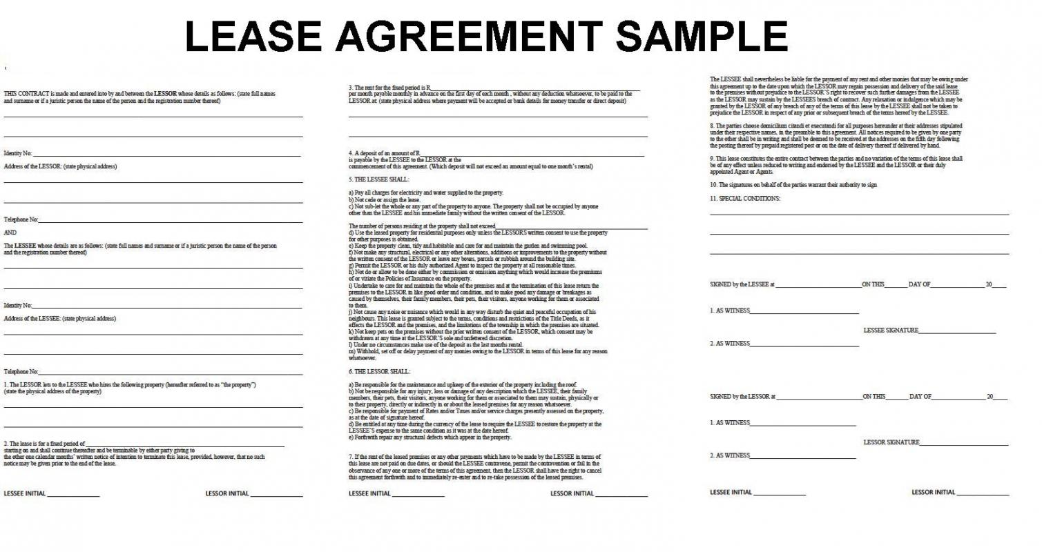 rental agreement format