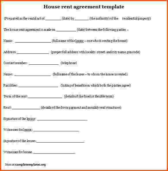 Rental Agreement Format  Template Business