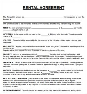 rental agreement format rental agreement template