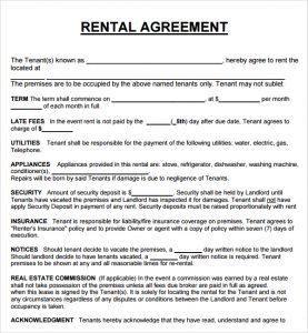 rental agreement format rental agreement template
