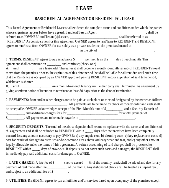 residential lease agreement template word