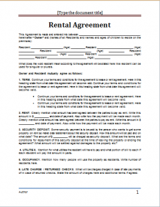 rental agreement template word rental agreement template