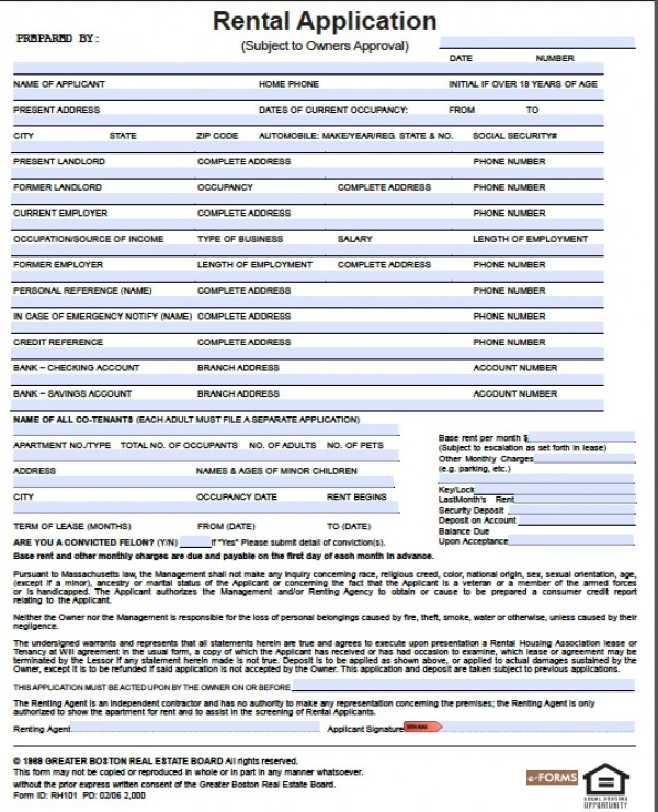 rental application form doc