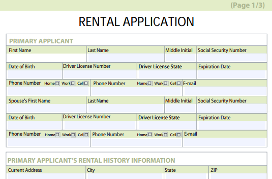 rental application form free