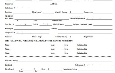 rental application form free room licensing rental application form printable
