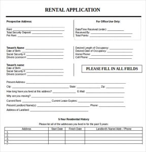 rental application form word editable rental application template word document