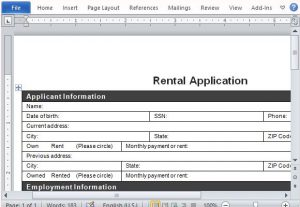 rental application form word ready to print rental application form