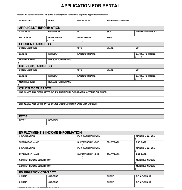 Rental application template template business for Housing rental application template