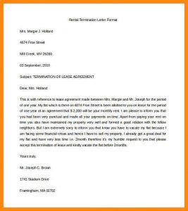 rental house application rental termination letter rental termination letter format word doc