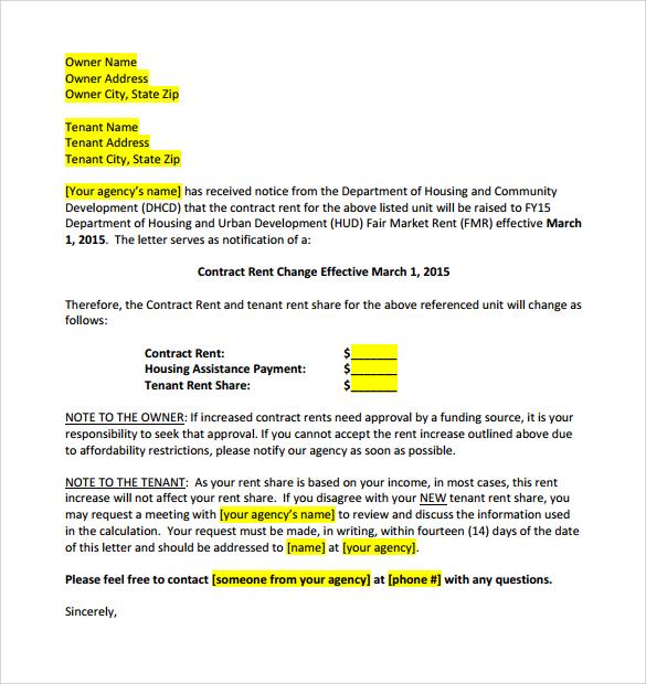 rental increase letter