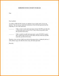 rental increase letter notice of rent increase letter sample