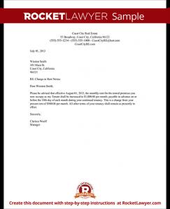 rental increase letter sample rent increase letter form tamplate