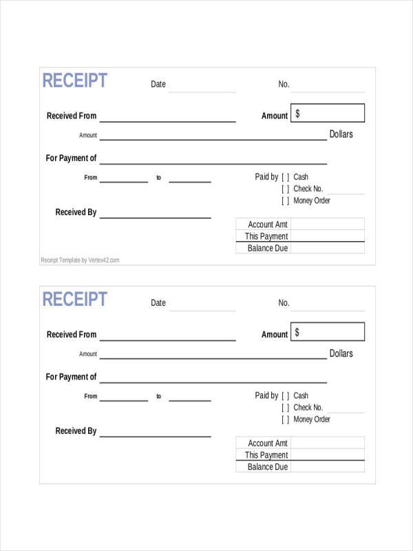 rental payment receipt