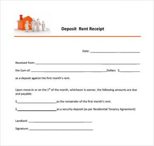 rental payment receipts rent deposit receipt template