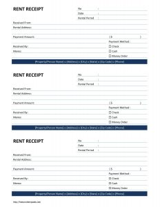 rental receipt format rent receipt