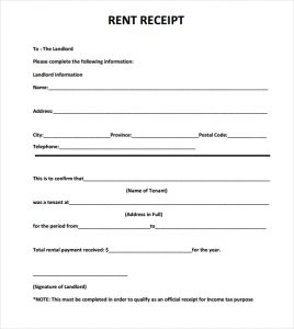 rental receipt format rent receipt template image