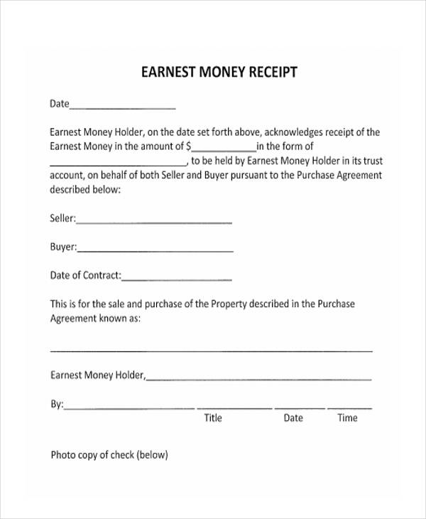 rental receipts format