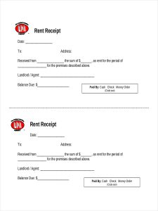 rental receipts format official receipt of payment