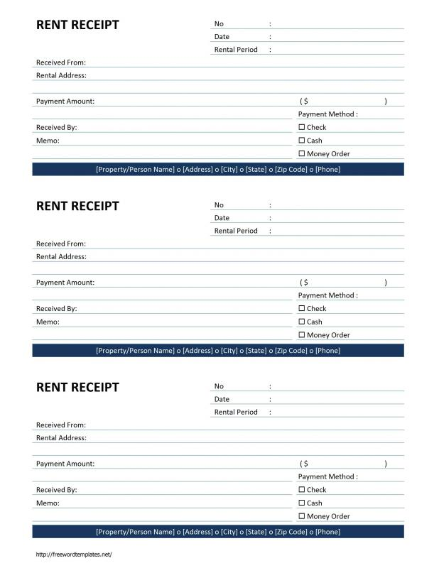 rental receipts template word