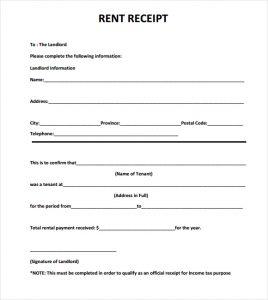 rental receipts template word rent receipt template image