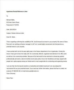rental reference letter apartment rental reference letter