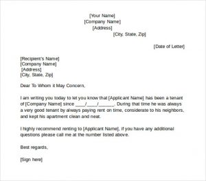 rental reference letter good example for tenant reference letter