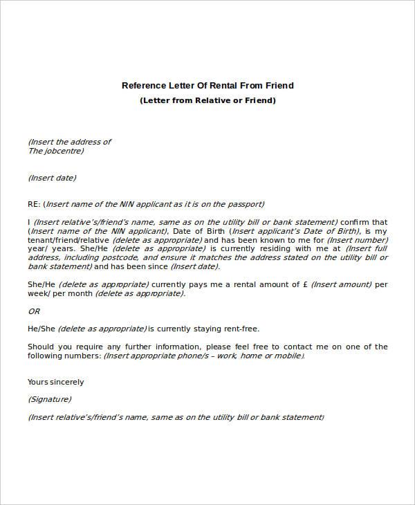 rental reference letter