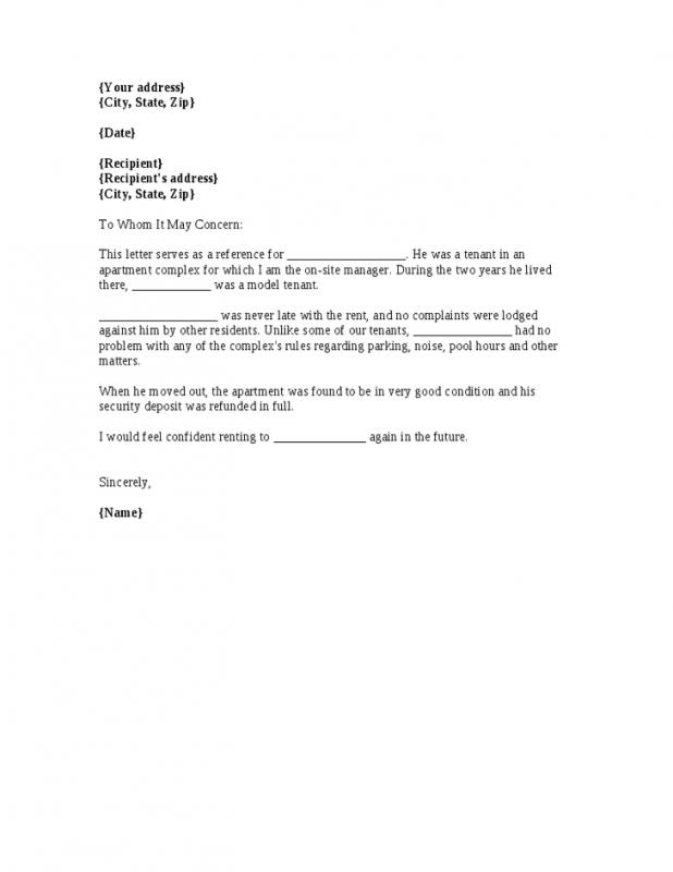 rental reference letters