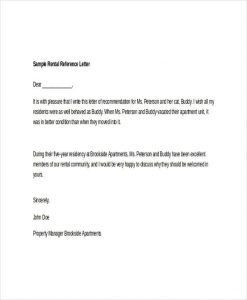 rental reference letters sample rental reference letter