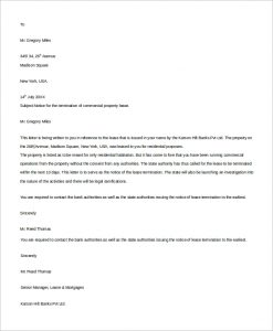 rental termination letter commercial lease termination letter