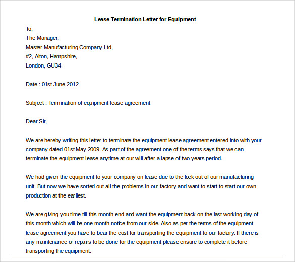 Rental termination letter template business rental termination letter thecheapjerseys Image collections