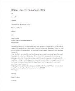 rental termination letter rental lease termination letter