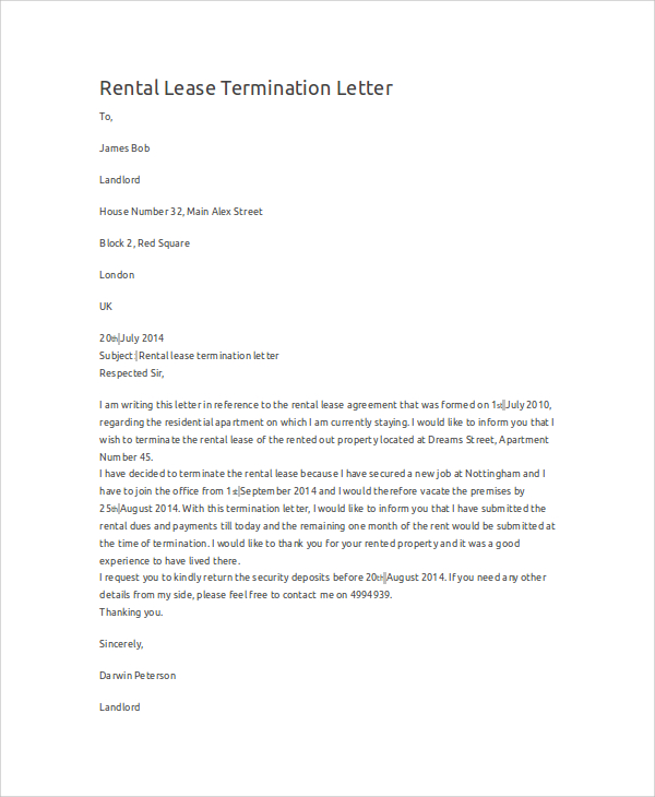 Rental Termination Letter | Template Business