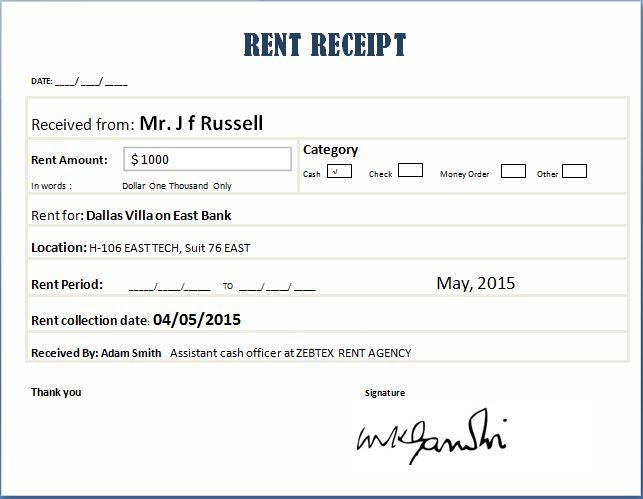 renters receipt form