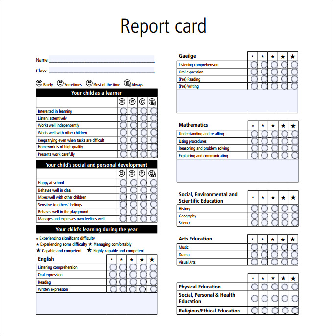Great Report Card Template