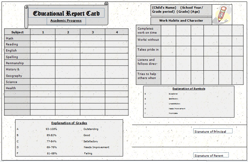 photograph relating to Printable Homeschool Report Card identify Post Card Template Template Place of work