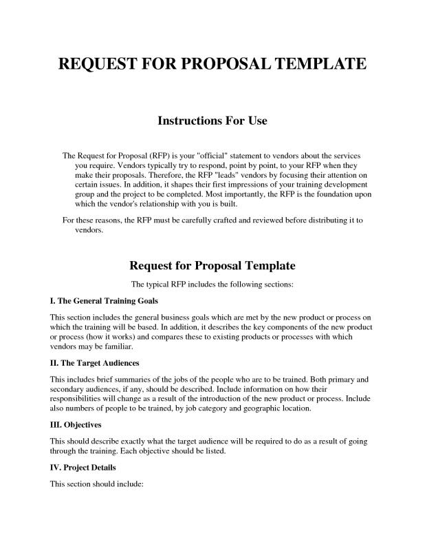 Request For Proposal Template Template Business